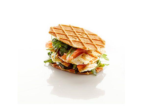 Club Sandwich van Jules Destrooper Natuurboterwafels en gegrilde kalkoen