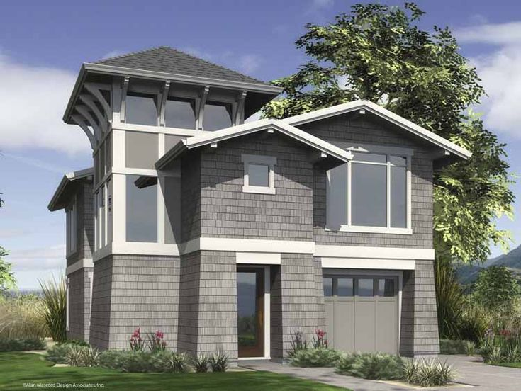31 best images about house plans narrow lot with view on for Narrow beach house