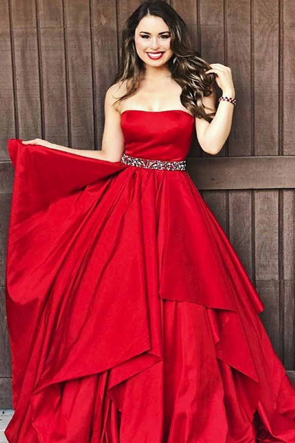 1af96333d6a A-Line Sweetheart Sweep Train Red Satin Sleeveless Prom Dress with ...