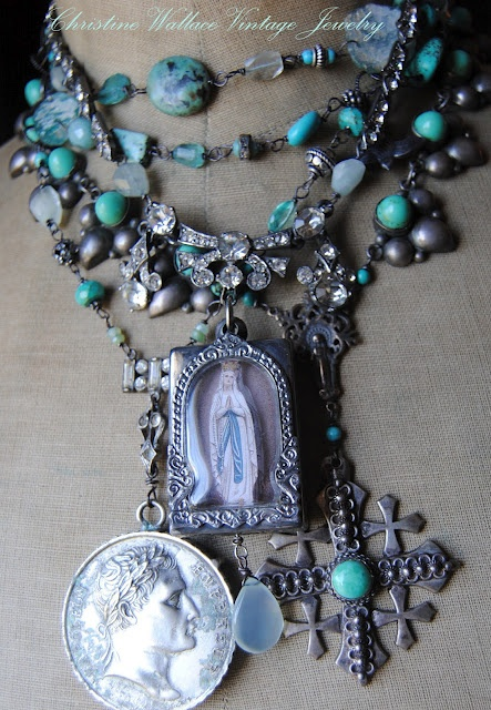 turqoise and patina on silver  by Christine Wallace