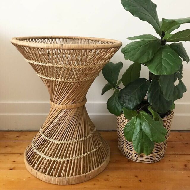 Vintage Rattan Twisted Table Base Cane Plant Stand Wicker Peacock Buffets Side Tables Gumtree Australia Moreland Area Cob Plant Stand Table Base Rattan