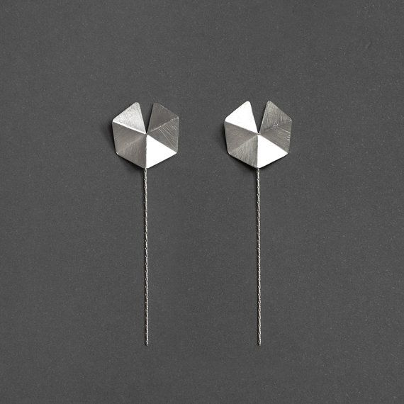 Very chic and elegant!  This geometric silver stud earrings is handcrafted, inspired by Polygon shape. Its cut and fold into Pentagon shape. This