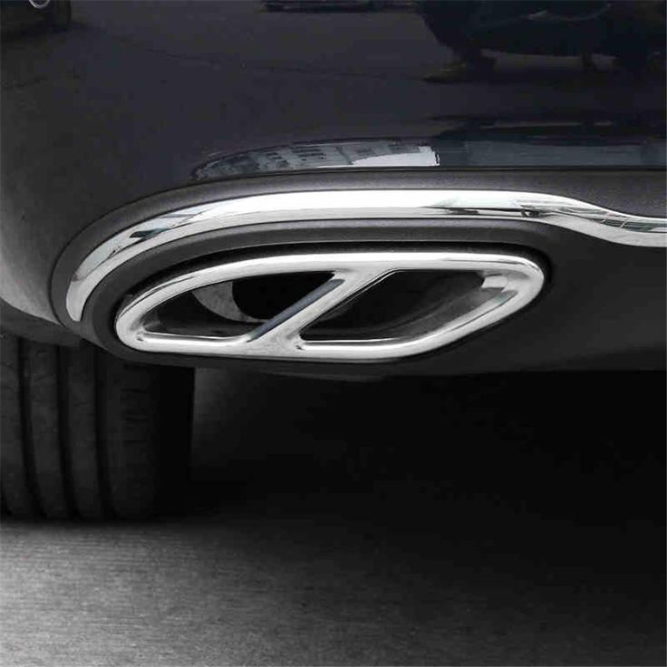 [Visit to Buy] Stainless Steel Rear Dual Exhaust Pipe Stick Cover Trims For Mercedes W205 C180 C200 C250 C300 C400 C 2015 2016 2017 sedan  #Advertisement