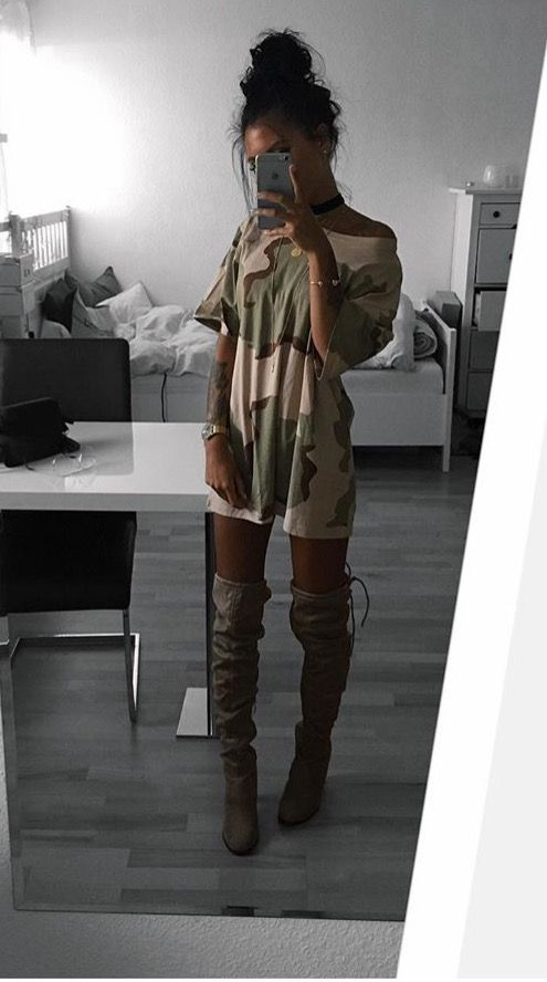 Thigh high boots, camo top...(otk boots)