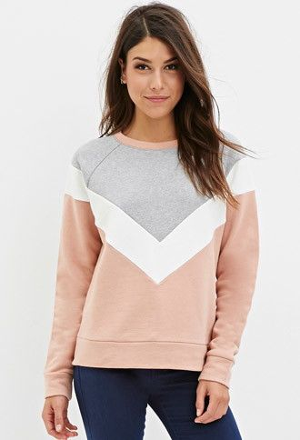 Contemporary Colorblocked Chevron Pullover | Forever 21 - 2000173708