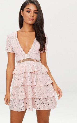 37d47667305 Dusty Pink Lace Tier Frill Plunge Skater Dress . Shop The Range Of Dresses  Today At Prettylittlething. Express Delivery Available.