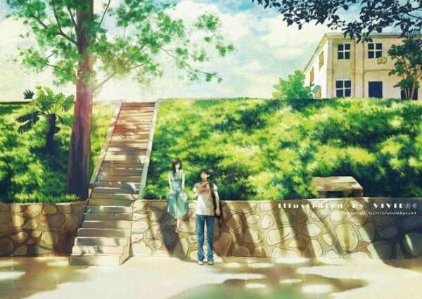konachan-com-175973-black_hair-dress-grass-long_hair-original-scenic-short_hair-stairs-summer-tree-vividyuxi-watermark