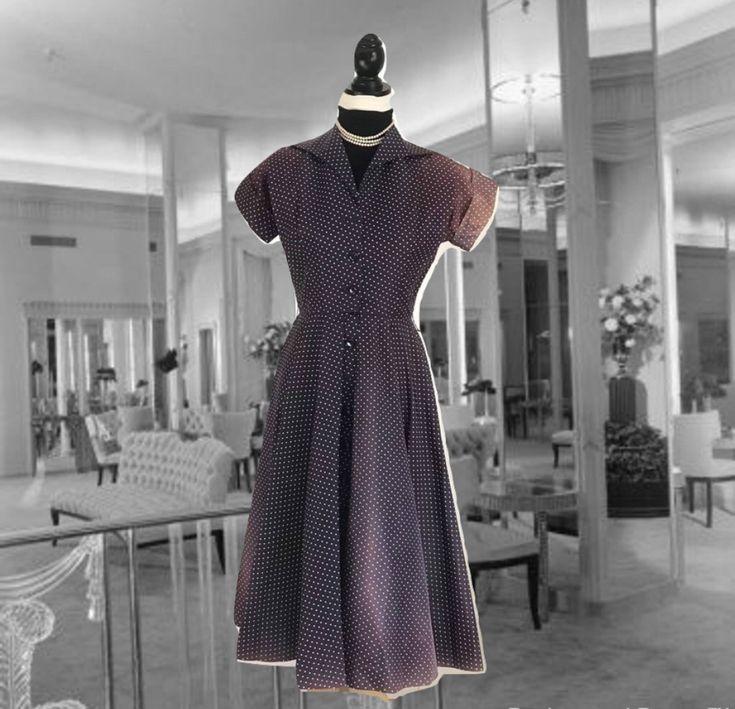 Vintage Day Dress, 1940s Polka Dot Dress, Tea Length, Full Skirt, Shirt Waist, Navy Blue and White, Button Down Front Dress, Short Sleeves by VerilyVintageClothes on Etsy https://www.etsy.com/listing/579009675/vintage-day-dress-1940s-polka-dot-dress