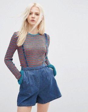 ASOS – Shorts mit Hosenträgern aus weichem Denim