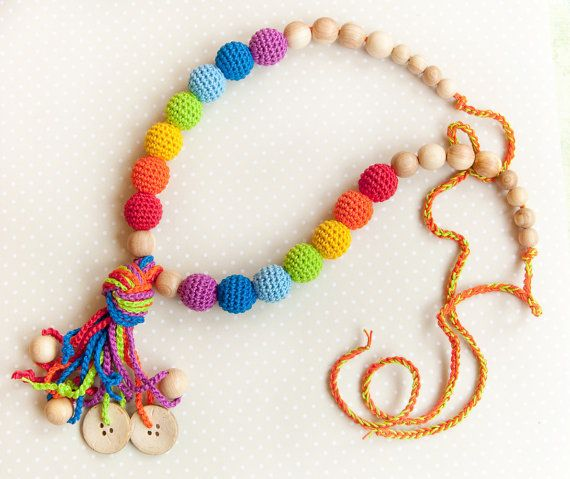 Rainbow Nursing Necklace - Teething Necklace with a coconut buttons - Baby Carrier - breastfeeding jewelry on Etsy, $35.00
