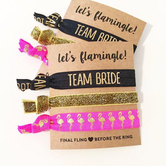 Bachelorette Hair Tie Favor Hot Pink Gold Flamingo Favors Party Bridesmaid Gift