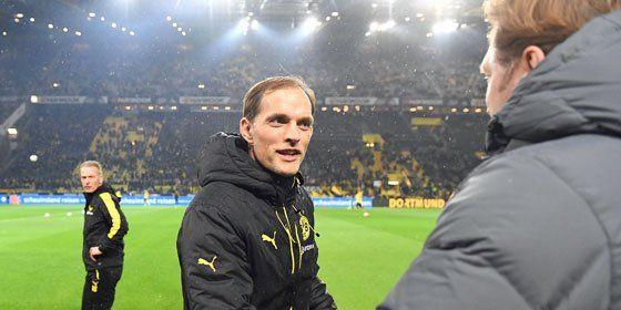 Shakehands: BVB-Trainer Thomas Tuchel und RB-Coach Ralph Hasenhüttl.
