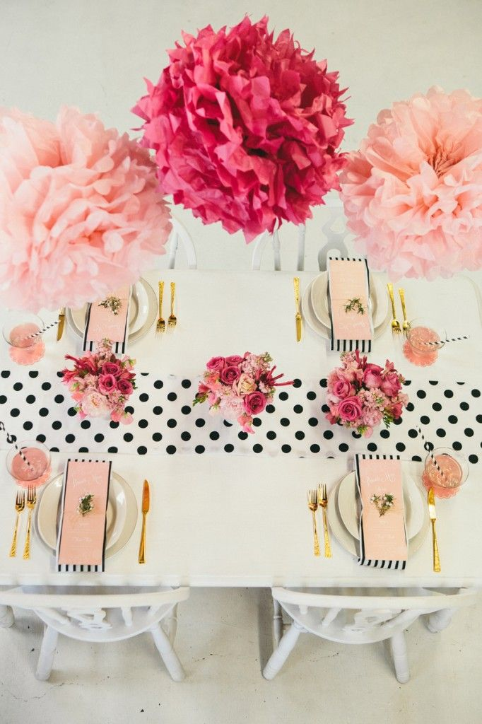 Mother's Day brunch polka dot table with pom tissue decor.