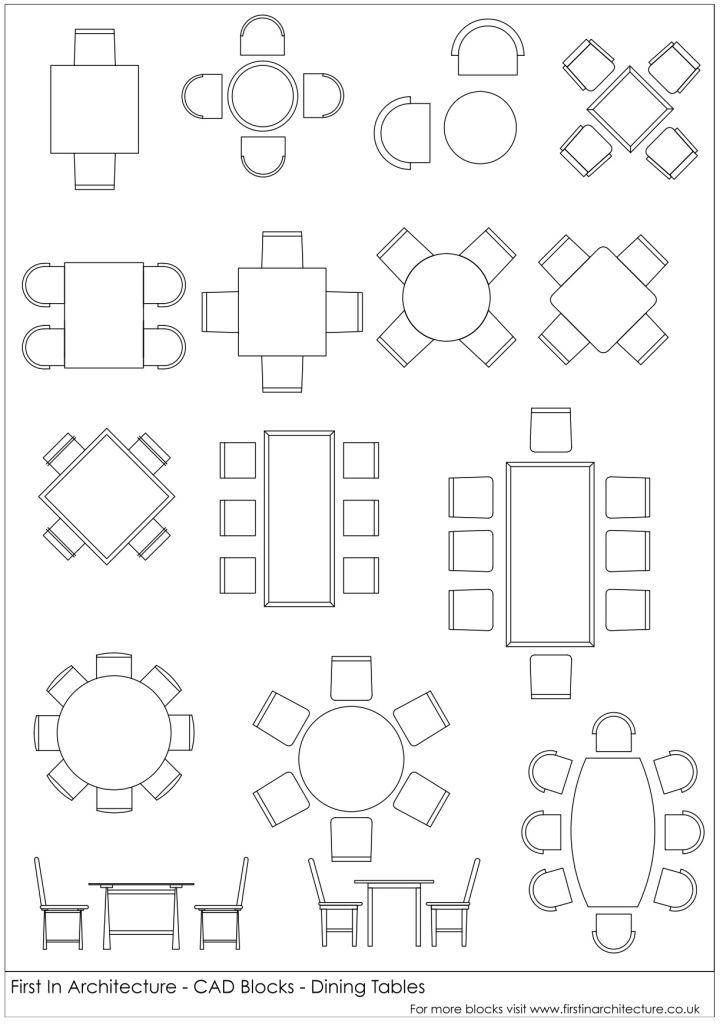 FIA CAD Blocks Dining Tables