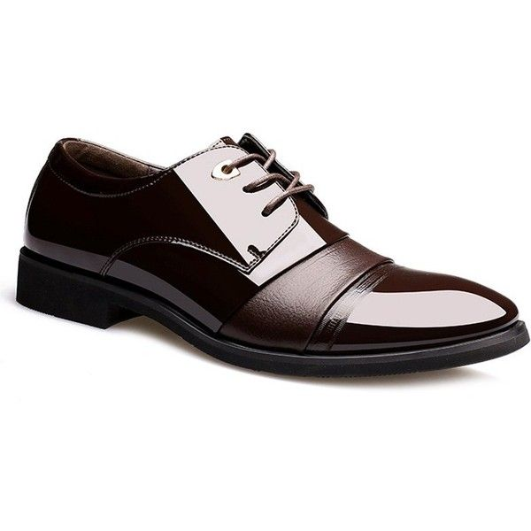Pointed Toe Patent Leather Formal Shoes ($48) ❤ liked on Polyvore featuring men's fashion, men's shoes, men's dress shoes, mens patent leather formal shoes, mens pointed toe dress shoes, mens pointed toe shoes, mens formal shoes and mens patent shoes