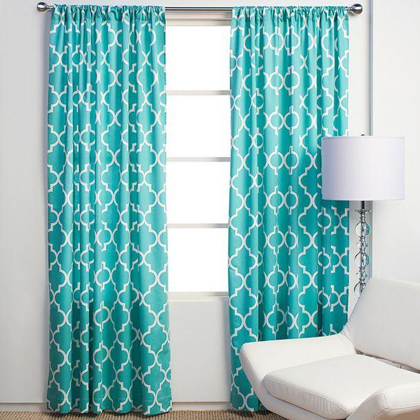 gray, red and aqua decor | gray room chic modern trellis curtains