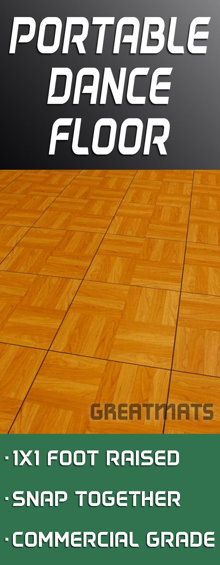 Greatmats portable dance floor tiles feature a commercial grade vinyl surface over a raised base and snap together over any hard, flat surface.
