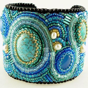Bead Embroidered Cuff Bracelet, Made to Order, Custom Creation, Designer Inspired, Detailed Artistic Jewelry and Beadwork for Every Occasion