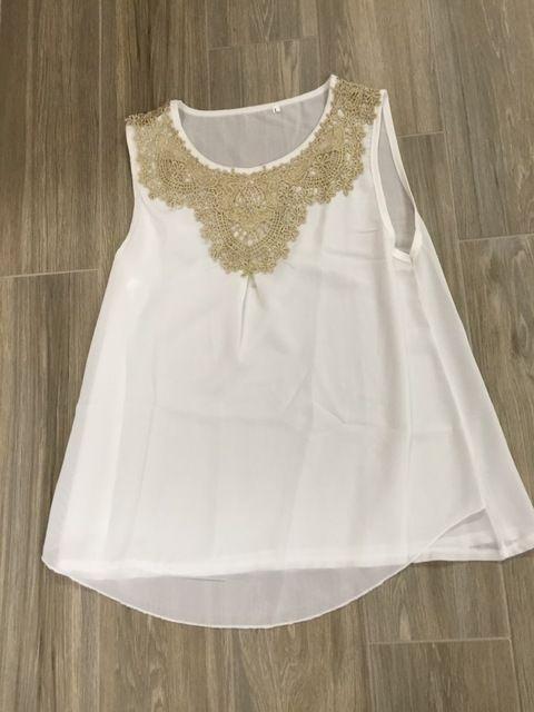 2015 Mulheres Blusa Chiffon Dobras Colete Sem Mangas das Mulheres de Roupas de Moda Rendas de Croché Blusa Escritório Camisas Plus Size Blusa Branca Loja Online   aliexpress móvel
