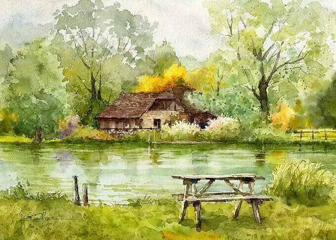Watercolor landscape forest stream river water house