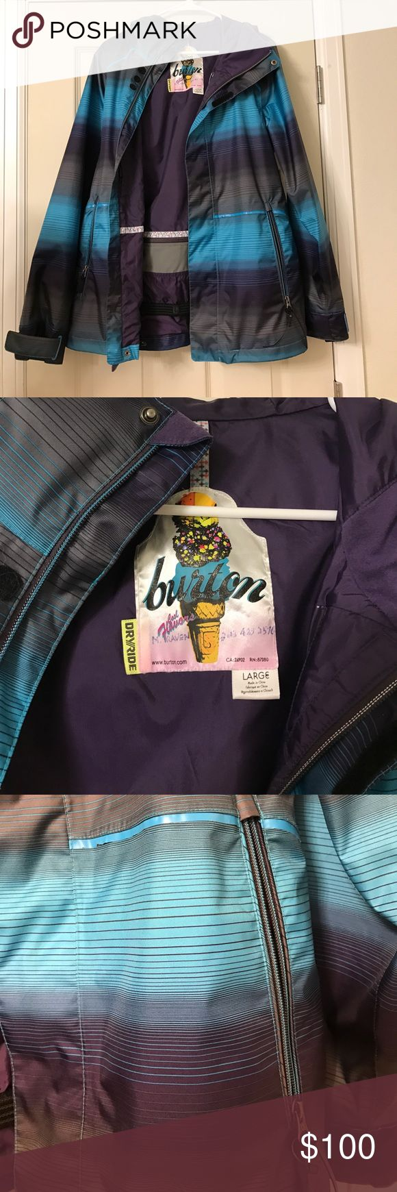Burton Snowboarding Jacket Like new snowboarding jacket.  Worn twice.  Only flaw is my Dad wrote my name on the inside label because he's silly.  It I super comfy and GORGEOUS.   Has many many pockets and of course is fully waterproof. Burton Jackets & Coats Utility Jackets