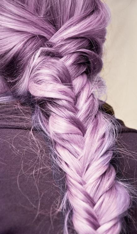 pastel purple fishtail braid -