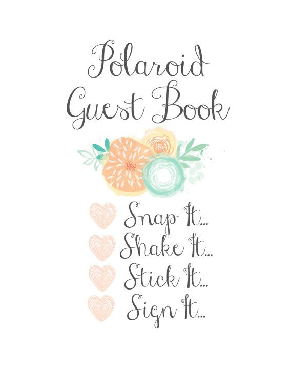 Polaroid Guest Book  8x10 Printable Sign  by Sweetness8 on Etsy