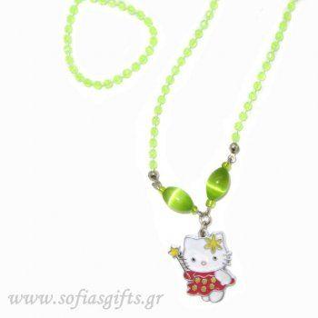 Κολιέ Hello Kitty κόκκινη νεράιδα με λαχανί περλέ πέτρες - Είδη σπιτιού και χειροποίητες δημιουργίες | Σοφία