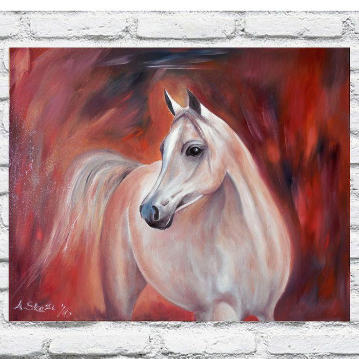 obraz olejny, koń, arabski,koń, malarstwo olejne,