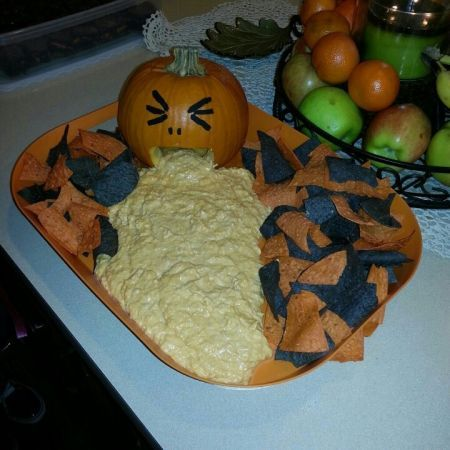 This is what happens when a pumpkin eats too much buffalo chicken dip. See more Halloween appetizers and party ideas at one-stop-party-ideas.com