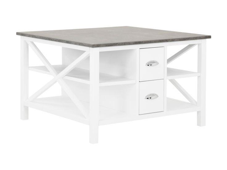 MICHELLE Sohvapöytä laatikoilla 80 Betoni/Valkoinen ryhmässä Pöydät / Sohvapöydät @ Furniturebox (110-89-112797)