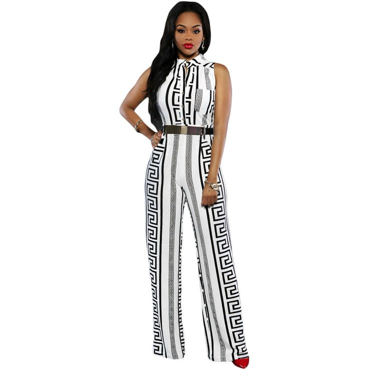 White Print Belted Jumpsuit Sale LAVELIQ
