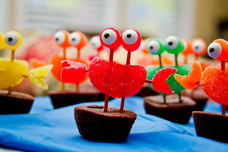 Under the Sea party food. Crab cupcakes