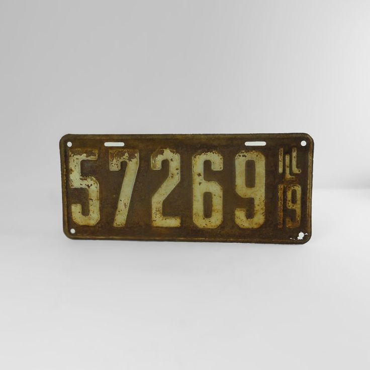 1919 Authentic Vintage Illinois Metal Car License Plate - FOR SALE! Authentic vintage 1919 Illinois old metal automobile car license plate sign. 12-7/8W x 5-1/2H. Wall art for man cave or nice display item. Buy Now!