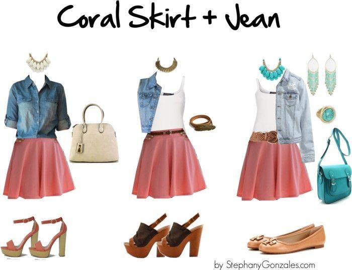 3 formas de usar una falda coral | 3 ways to wear a coral skater skirt