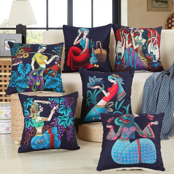 2016 New 6 style Traditional Chinese Ethnic girl pattern blue cushion Unique emoji pillow Free shipping A-49 #Affiliate