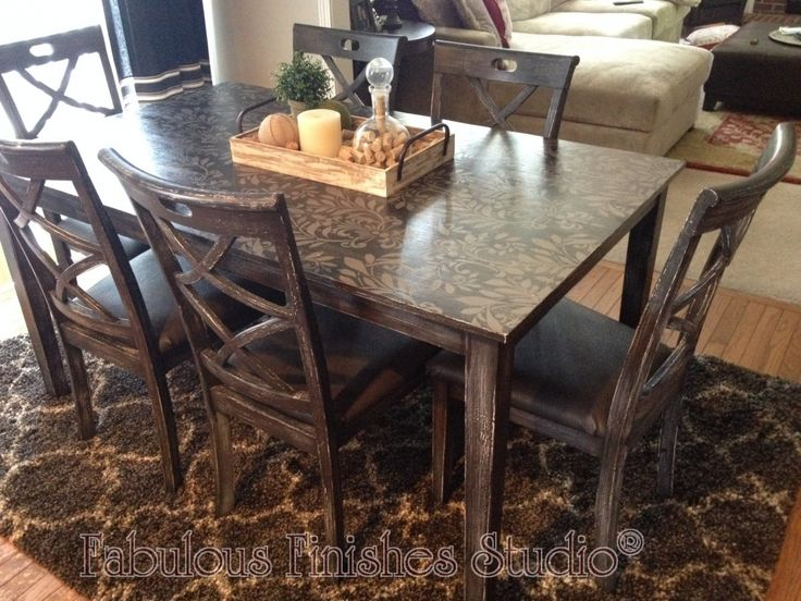 Stenciled Dining Room Table - Best Cheap Modern Furniture Check more at http://1pureedm.com/stenciled-dining-room-table/