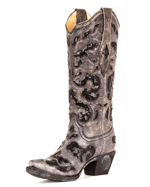 Women's Black Crater Sequins Inlay Boot - A1065, I WANT THESE SO BAD!