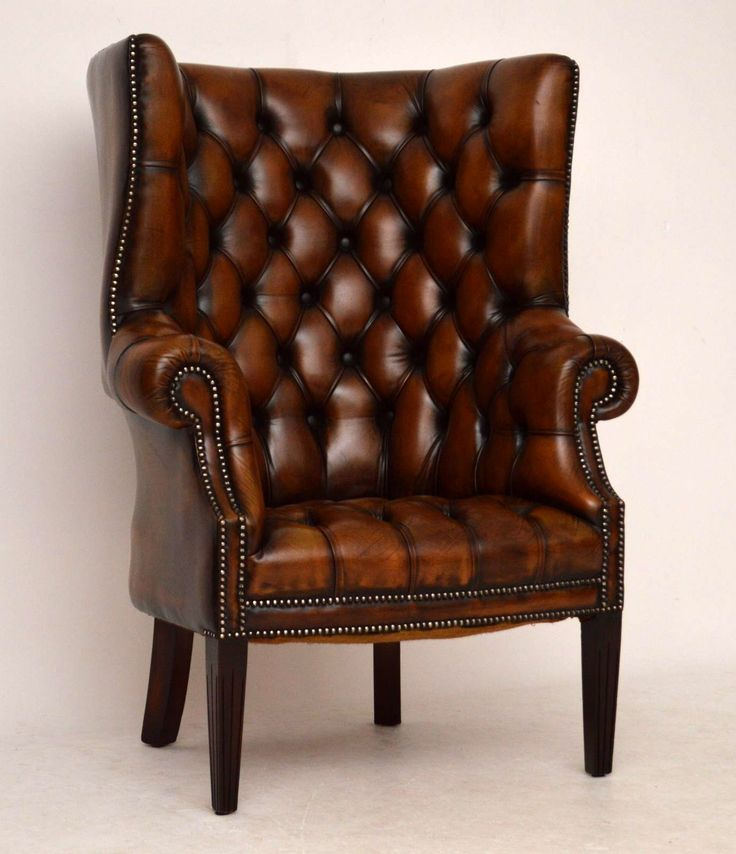 Antique Deep Buttoned Leather Wing Back Armchair Church