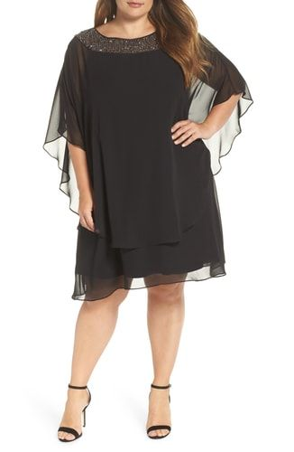 d6250b683ece New Xscape Beaded Neck Chiffon Overlay Dress (Plus Size) online. [$198]  fgofashion offers on top store