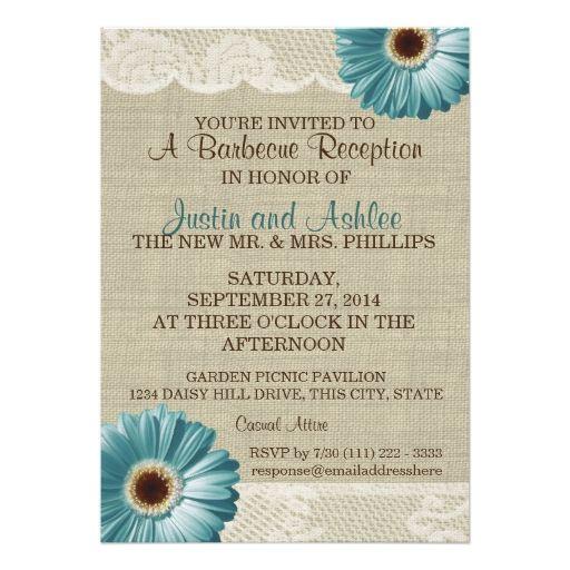 Teal Daisy and Burlap BBQ Wedding Reception Custom Invitations
