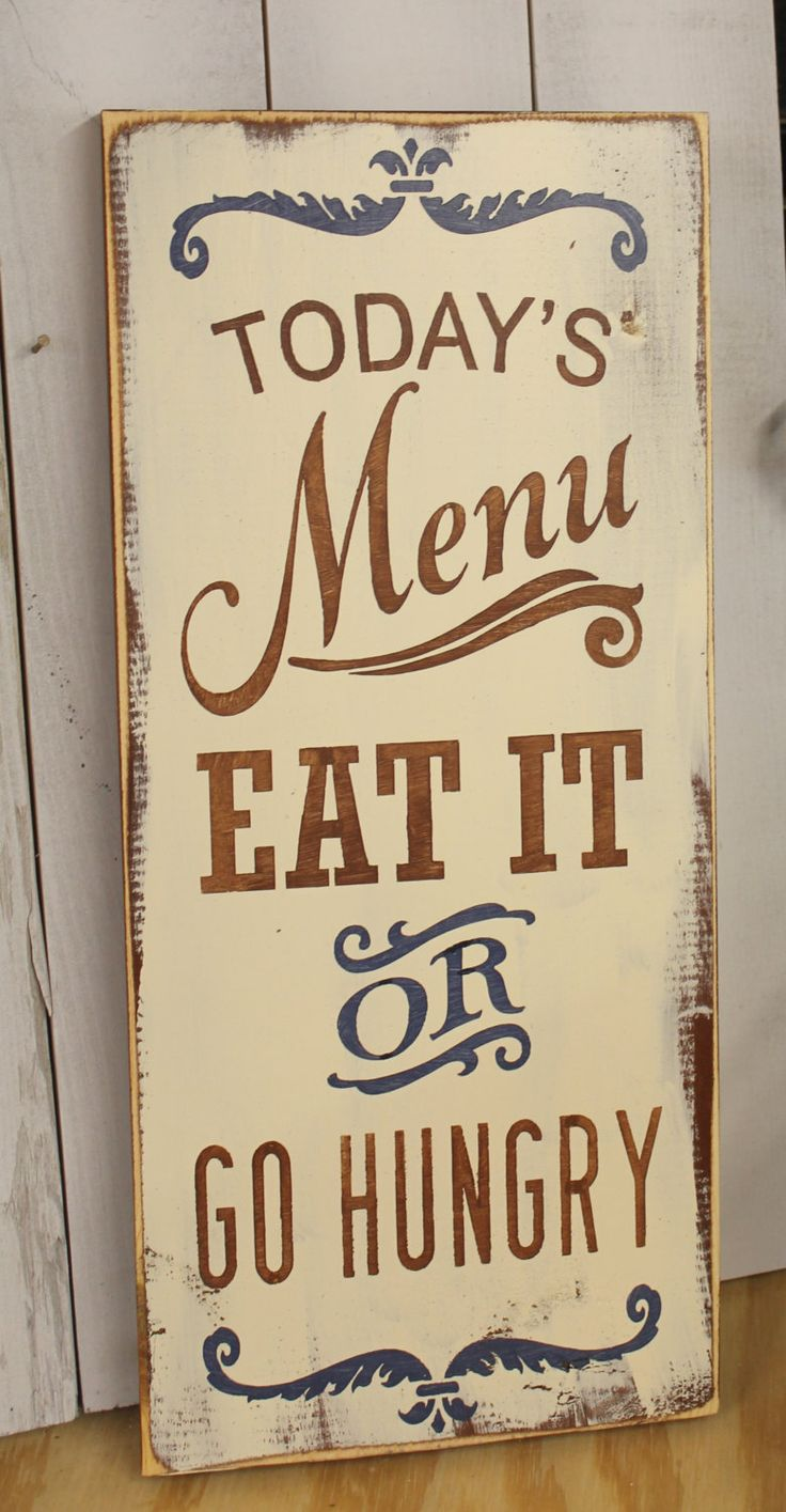 Today's Menu Sign/Eat It or Go Hungry/Kitchen Sign/Kitchen Decor/Blue/BrownKitchen Decor by TheGingerbreadShoppe on Etsy