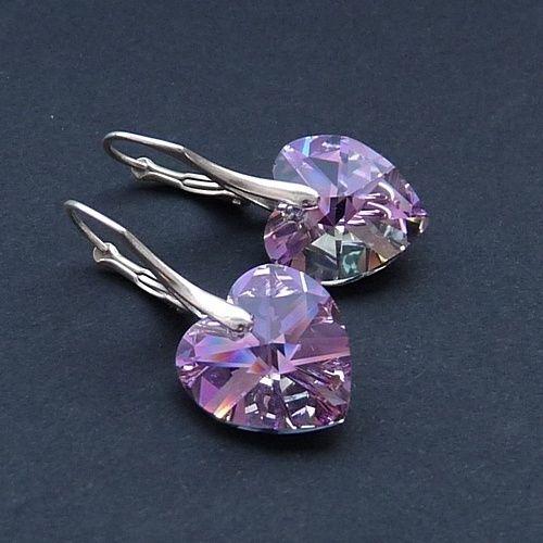 Zilveren+hart+oorbellen+van+CUDOSFERA+op+DaWanda.com