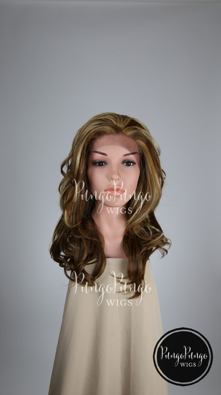 Brown Wig + Highlights /Curly Wavy Medium Long Lace Front Wig/ Natural Party Costume Drag Elf Cosplay Scene Red Blonde /Lady Series e8642 by PungoPungo on Etsy