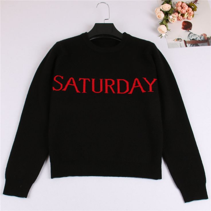One Week Letters Fashion Women Sweater Black Knitting Pullover Sunday Monday Tuesday Wendnesday Thursday Friday Saturday. Click visit to buy