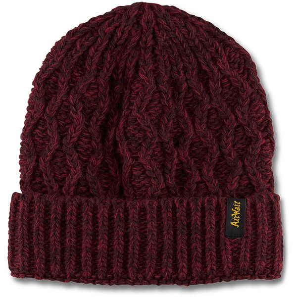Dr. Martens Heavy Gauge Beanie found on Polyvore featuring accessories, hats, red, red beanie hat, chunky beanie, cable knit beanie, cable hat and acrylic beanie