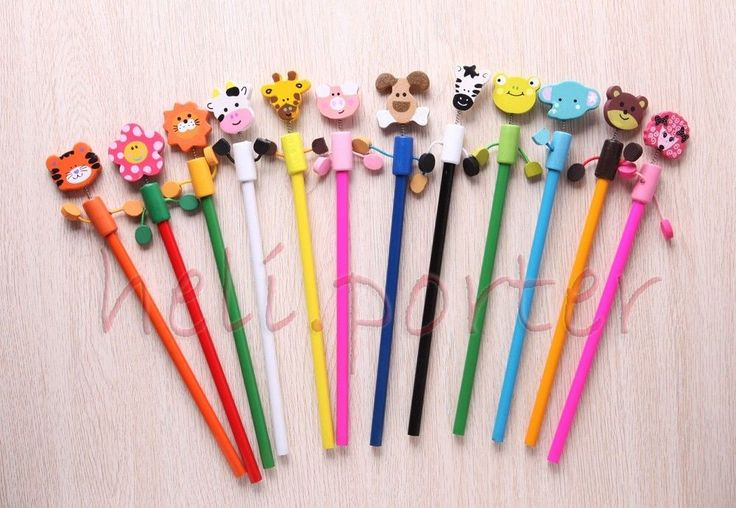 1 Pieces Cute Wooden Animals shape head pencil Stationary Kid Gift Toy