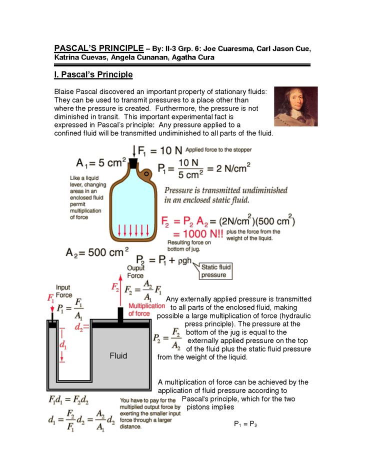 pascals principle Find and save ideas about pascal's law on pinterest | see more ideas about mechanical advantage, physics cheat sheet and mechanical engineering.