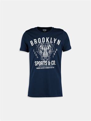 Navy Printed Regular Crew Neck T-Shirt, Urun kodu: 6YF127Z6-D3U,Product Type:T-shirts,Design:Printed,Fit:Regular,Neck Type:Crew Neck,Main Fabric:%100 Cotton,