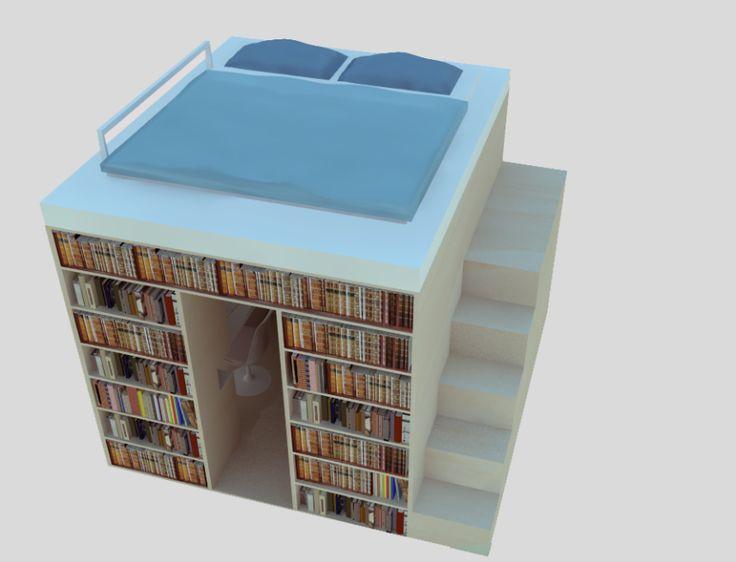 The shelter - Libreria, letto, scrivania